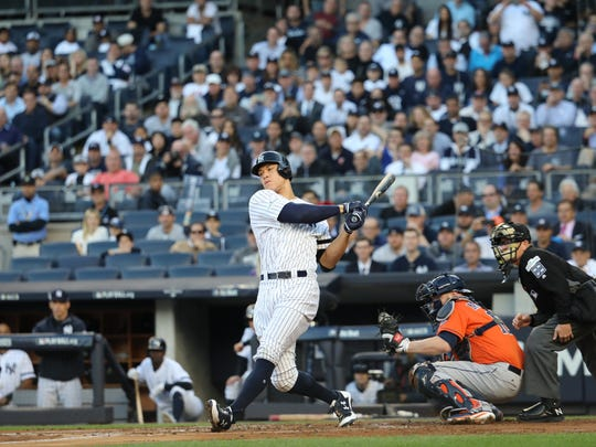 Aaron Judge strikes out during the first inning of Game 5, Wednesday, October 18, 2017.