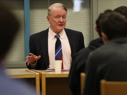 U.S. Rep. Leonard Lance speaks with Millburn High School Investment Club about economics, taxes and healthcare on Monday, Oct. 30, 2017.