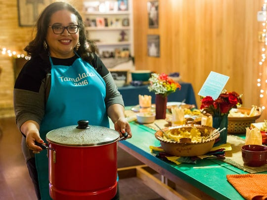 Vianney Rodriguez makes homemade pork tamales at her