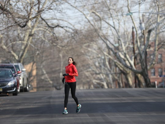 Running on Carmita Avenue, Rutherford, Sunday, January