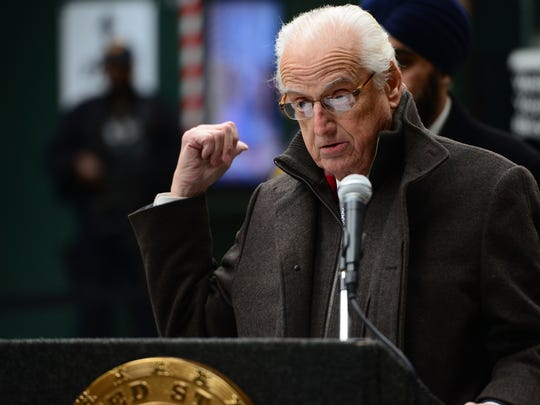 U.S. Representative Bill Pascrell, Jr. (N.J.-09), at the podium during a press conference at the Hoboken Train Terminal regarding the NTSB's report on the train accident last year that killed one woman in Hoboken, not pictured, Hoboken Mayor Ravi Bhalla, U.S. Senator Bob Menendez, and U.S. Senator Cory Booker, Friday February 09, 2018.