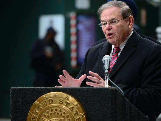 U.S. Senator Bob Menendez at the podium during a press
