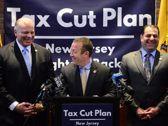 Center, U.S. Congressman  Josh Gottheimer, along with N.J. Senator Stephen Sweeney and N.J. Senator Paul Sarlo announce that they are bringing to a vote in the N.J. Legislature a tax cut plan to make property tax payments to municipalities a tax deduction on Friday February 23, 2018.