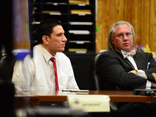 Samuel Rua III and his defense attorney Harley Breite listens to Assistant Prosecutor Jonathan Barrera give his closing arguments during his trial, in which Rua is accused of murdering a 17-year-old teenage male prostitute, before Judge Sohail Mohammed in the Passaic County Superior Court Paterson on Thursday March 1, 2018.