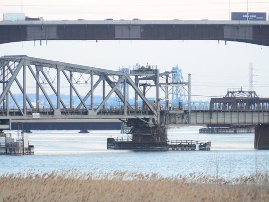 The Portal Bridge, operated by Amtrak, was stuck on Friday, March 16, 2018, and no trains were passing over the bridge, which runs over the Hackensack River between Kearny and Secaucus.