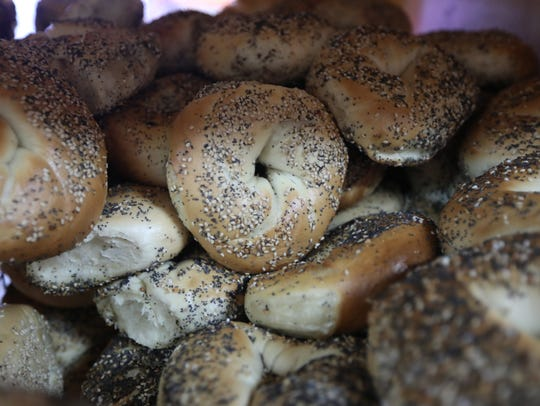 Everything bagels are displayed at the Bagel House