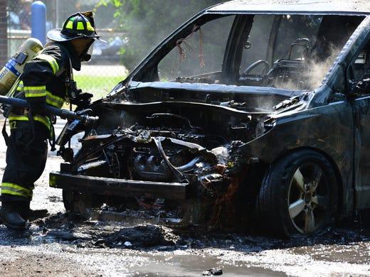 car fire  paramus honda dealer  vehicle  traded