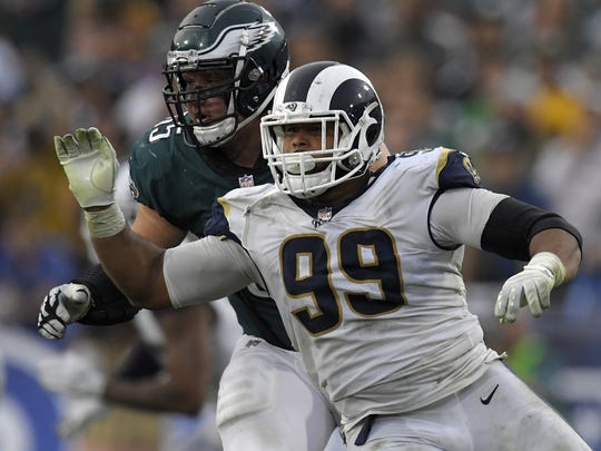 For the second straight season, Rams defensive lineman Aaron Donald (99) has been a no-show at offseason camps because of his desire for a new contract.