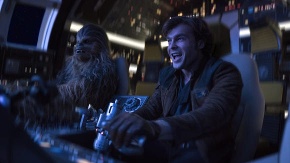 Chewbacca (Joonas Suotamo, left) and Han Solo (Alden