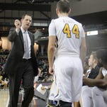 NKU head coach John Brannen gives instructions to junior guard Dean Danos. Northern Kentucky vs. Green Bay. Horizon League men's basketball. Feb. 4, 2016. BB&T Arena, Highland Heights KY.
