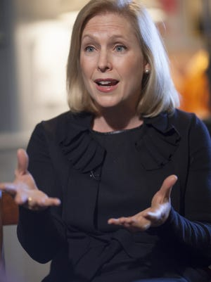 Sen. Kirsten Gillibrand, D-N.Y., chair of the Senate Armed Services Subcommittee on Personnel , discusses her proposed reforms for prosecuting sexual assaults in the military, during an interview with The Associated Press in her Capitol Hill office in Washington on Jan. 21, 2014.