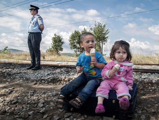 Waiting to cross from Greece into Macedonia in the