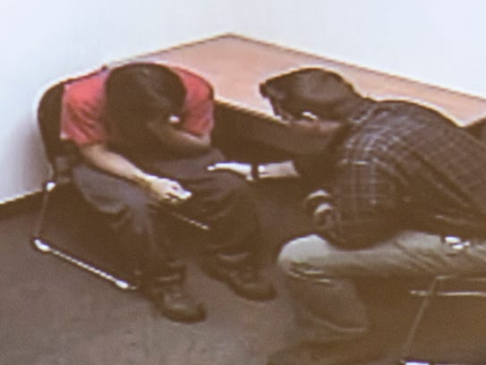 A picture taken of a video played in court on Monday