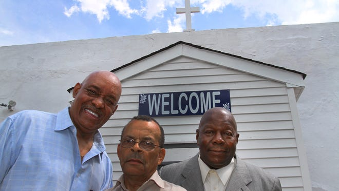 (Left to right) Deacon Darnell Perry of the Bethany Baptist Church in Farmingdale, Deacon James R. Plummer of Pilgrim Baptist Church in Red Bank and Deacon Early Ford of the Good Hope Baptist Church in Asbury Park stand at the Deacon's Union in Howell.