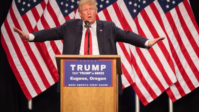 This file photo taken on May 5, 2016 shows U.S. Republican presidential candidate Donald Trump as he addresses an audience in Eugene, Oregon.