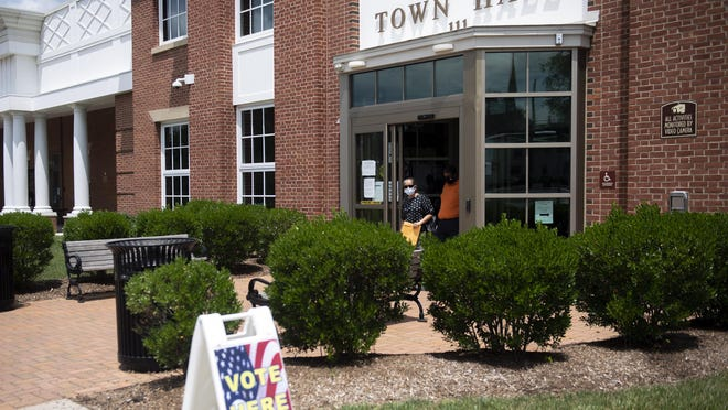 Town hall in Moorestown is one of Burlington County's active polling locations on Election Day.