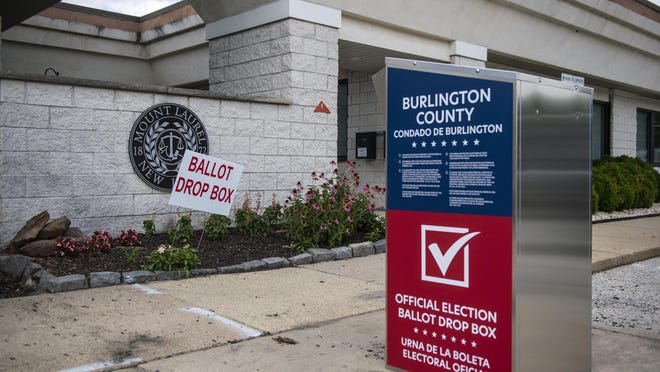 A ballot drop box waits for voters at the municipal building in Mount Laurel.