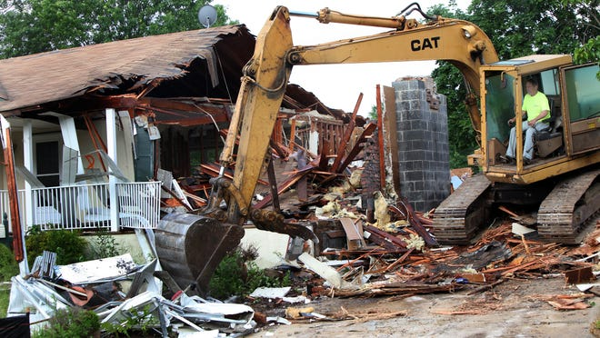 The second phase of demolitions of homes of the Christie administration's $300 million post-superstorm Sandy buyout program began Wednesday on Weber Ave. in Sayreville.