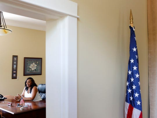Pelahatchie Mayor-elect Ryshonda Harper Beechem, the first African American mayor of Pelahatchie, in her new office at Pelahatchie City Hall Tuesday.