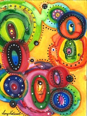 These are small, expressive, intuitive abstracts.... approximately 4x6 inches, created with washable markers and acrylic markers. The artist draws with the washable markers and then adds water so the lines and shapes bleed, blend and change. She intensifies the colors, lines and shapes that are created by the addition of water with acrylic markers.
