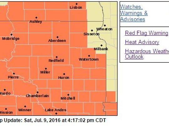 Much of South Dakota is under a heat advisory Sunday,