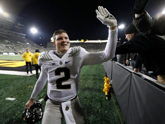 Purdue quarterback Elijah Sindelar celebrates with