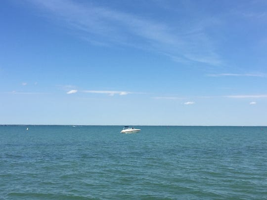 A boat on Lake St. Clair near MacRay Harbor in Harrison Township on June 9, 2016.