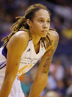 Phoenix Mercury center Brittney Griner (42)  against the Chicago Sky during the first half of  their WNBA game  Wednesday, July 2,, 2014 in Phoenix, Ariz.