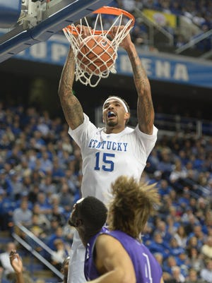 UK's Willie Cauley-Stein slam dunks during the University of Kentucky men's basketball game against Grand Canyon at Rupp Arena in Lexington, Ky. Friday, November 14, 2014.
