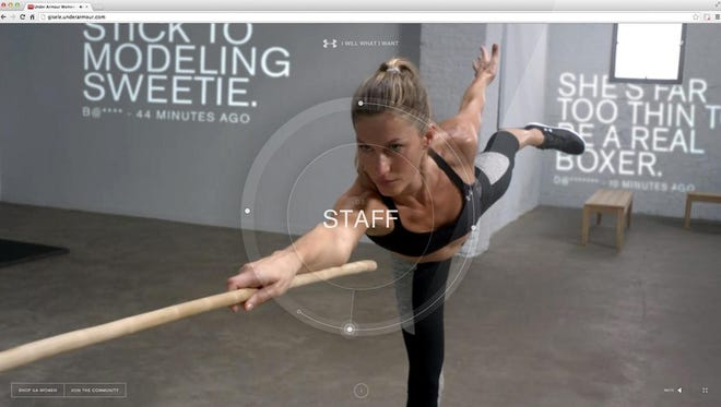 "Supermodel Giselle Bundchen demonstrates her physical ability while surrounded by real-time projections of social media insults as part of Droga5 and Under Armour's award-winning ""I Will What I Want"" campaign. The website featuring Giselle won a Grand Prix award in the Cyber category at the Cannes Lions International Festival of Creativity 2015."