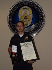 Officer Matt Steed with the Palm Springs Police Department was awarded the Medal of Lifesaving on Sept. 2 for reviving a man who had stopped breathing in a roadway.