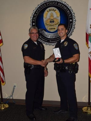 Officer Matt Steed was awarded the Medal of Life Saving by Chief Al Franz at the Sept. 2 Palm Springs City Council meeting.