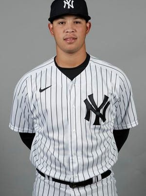 This is a 2020 photo of Miguel Yajure of the New York Yankees baseball team. This image reflects the Yankees active roster as of Thursday, Feb. 20, 2020, when this image was taken.