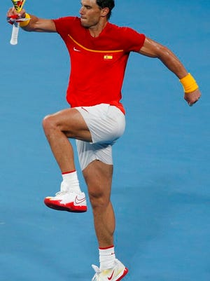 Rafael Nadal of Spain celebrates defeating Alex de Minaur of Australia in their ATP Cup tennis match in Sydney, Saturday, Jan. 11, 2020.