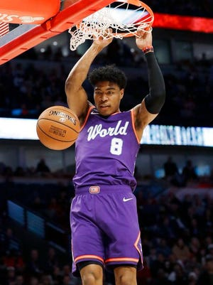 World forward Rui Hachimura, of the Washington Wizards, dunks against the U.S. during the first half of the NBA Rising Stars basketball game in Chicago, Friday, Feb. 14, 2020.