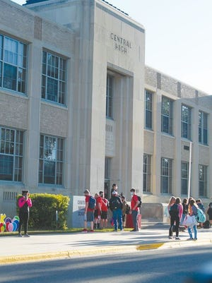 Students gathered near the steps of Central Middle School early Wednesday morning, Sept. 2 for the first day of school in Devils Lake Public Schools.