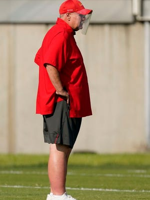 Kansas City Chiefs head coach Andy Reid watches during an NFL football training camp practice Monday, Aug. 24, 2020, in Kansas City, Mo.