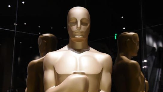 Oscar statuettes are on display during the Academy