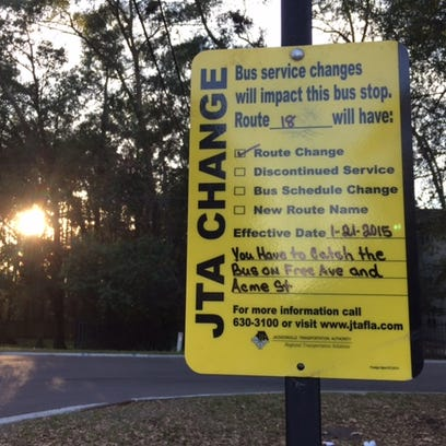 Sign gives notice that a JTA bus route has changed