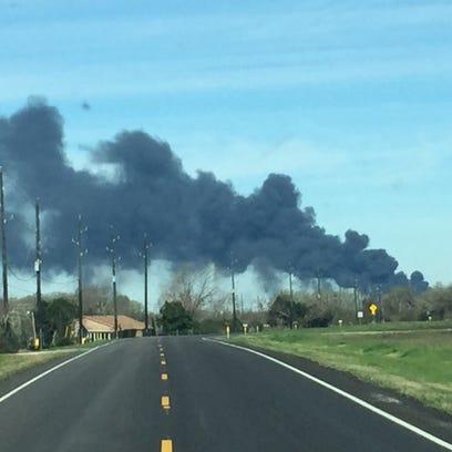 Plume of smoke in Wharton County