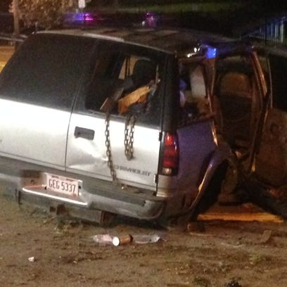 The SUV after the crash on Euclid Avenue and Lakeview
