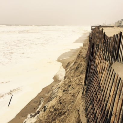The dune line in Ortley Beach was breached by the storm