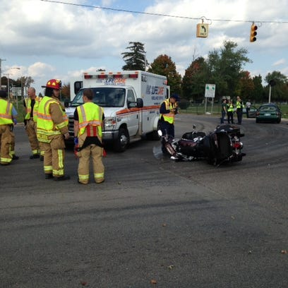 Scene of serious car-motorcycle collision Wednesday