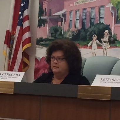 Fort Myers Mayor Anita Cereceda during emergency meeting