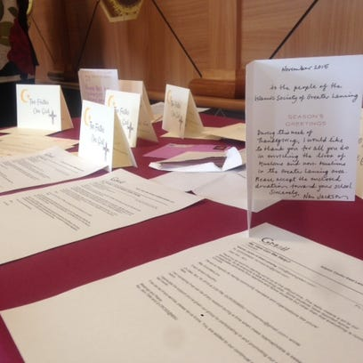 Cards and letters of support adorned a table at the