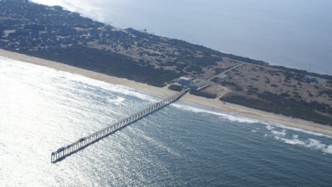 This 1,840-foot pier is part of a federal research facility in North Carolina where researchers from Massachusetts hope to learn more next summer about the impacts of storm surges on water pollution in coastal communities.