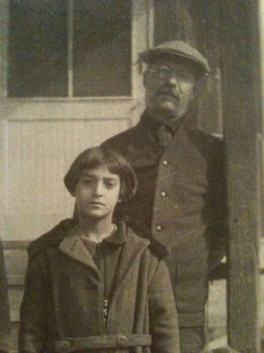 Mary Jordan with her father, Joseph Ferris Ganem, outside the general store he ran in Sonora, Arizona.