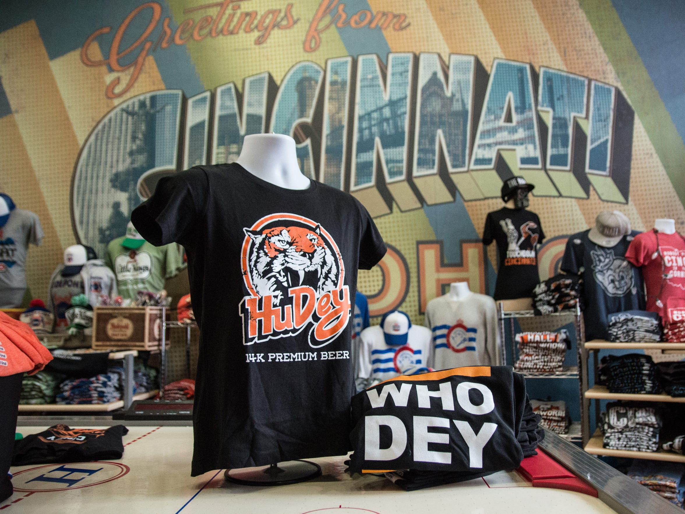 CincyShirts, located on Main Street downtown Cincinnati, features Who Dey shirts for Bengals fans to wear. Bengals are so big this year that merchandise was targeted in a recent break in at the shop.