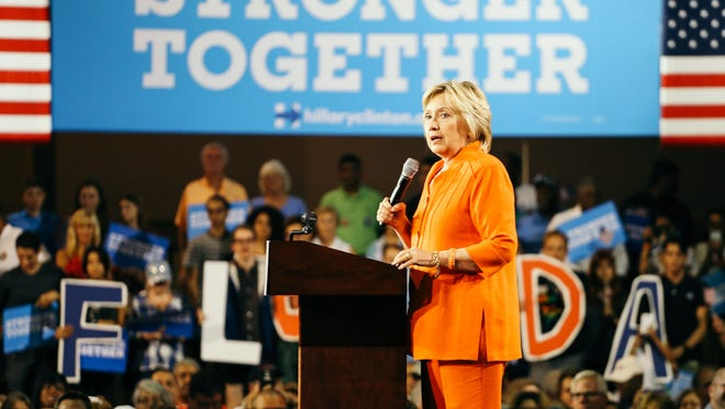 Hillary Clinton speaks at a rally in Kissimmee, Florida on Monday, August 8, 2016.