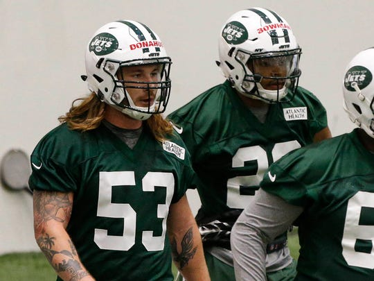 May 5, 2017; Florham Park, NJ, USA;  New York Jets linebacker Dylan Donahue (53) during New York Jets rookie mini camp at  Atlantic Health Training Center.